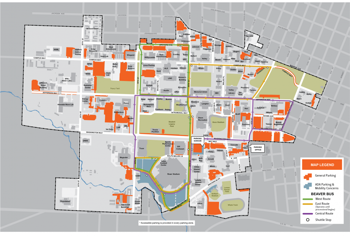 Commencement parking and shuttle route map